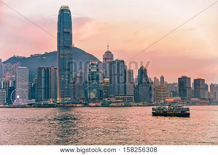 Star Ferry At Victoria Harbor In Hong Kong