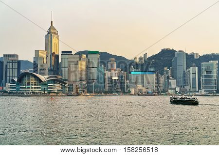 Star Ferry In Victoria Harbor Of Hk At Sundown