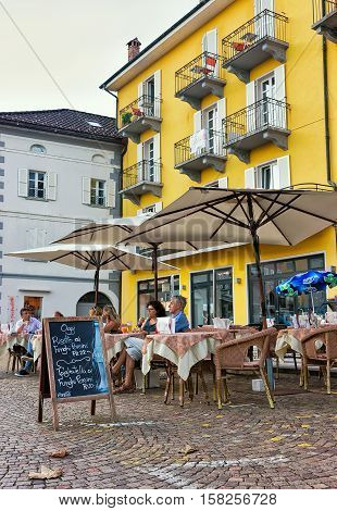 Street Restaurant In Ascona In Ticino In Switzerland