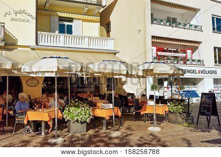 Street Restaurant In Ascona Resort Of Switzerland
