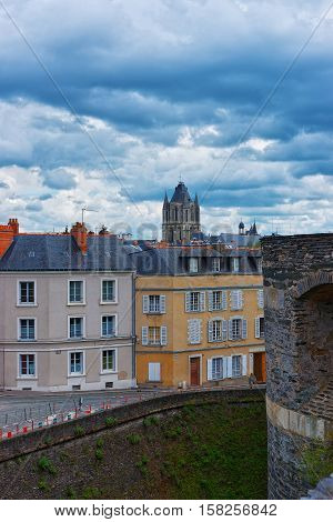 Street And Saint Aubin Abbey In Angers In Loire Valley