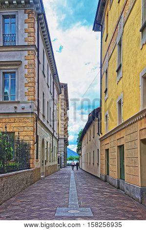 Street In City Center In Lugano Ticino Switzerland