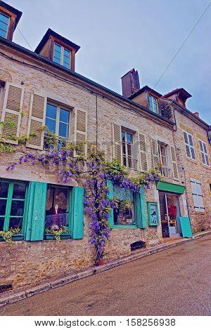 Street In Vezelay In Bourgogne Franche Comte Region In France
