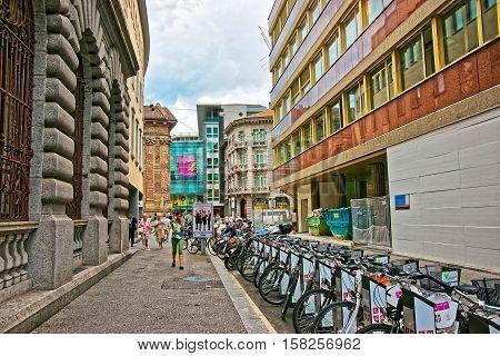 Street In City Center In Lugano In Ticino In Switzerland