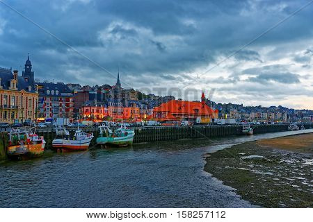 Sunset At Touques River Embankment In Trouville Of Calvados Normandy