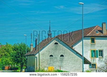 Swiss House In Yverdon In Jura Nord Vaudois Vaud Switzerland