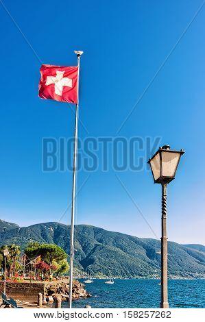 Swiss Flag In Ascona In Ticino In Switzerland
