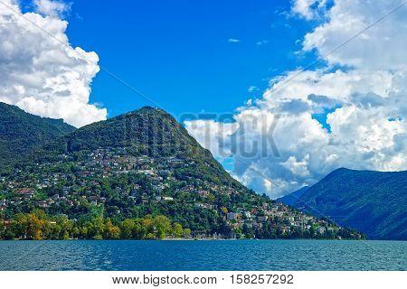 Swiss Houses At Lake Lugano And Mountains Ticino Switzerland