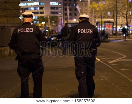 Frankfurt am Main, Hessen, Germany - November 21, 2016: Policemen patrolling in Frankfurt am Main Hauptbahnhof