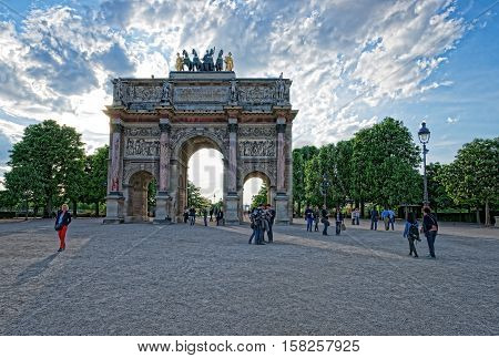 Triumphal Arch Carrousel In Paris France