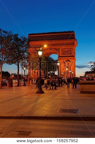 Triumphal Arch Of The Star In Paris France