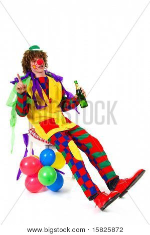 Clown is drinking with a bottle of wine poster