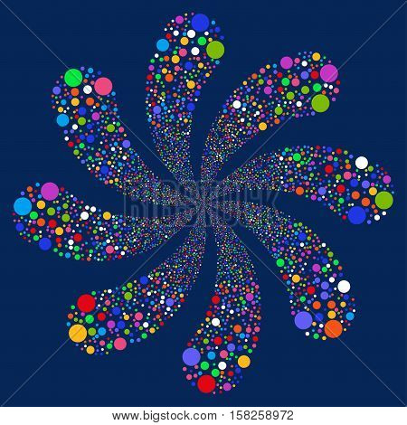Ball Fireworks Swirl With Eight Petals vector image. Style is bright multicolored flat circles, blue background.