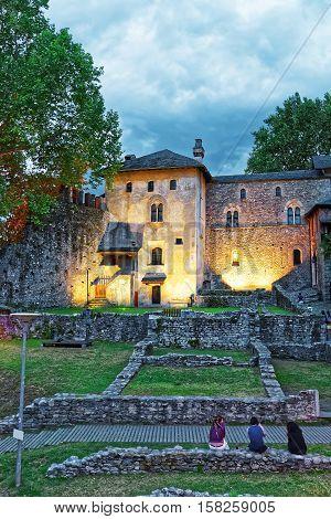 Visconteo Castle At City Center In Locarno Ticino Switzerland, In The Evening.