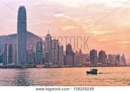 Water Boat And Victoria Harbor Of Hong Kong