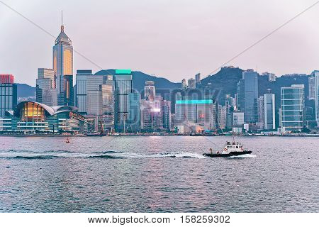 Water Boat At Victoria Harbor In Hong Kong