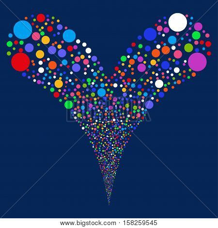 Double Bubble Fireworks vector image. Style is bright multicolored flat circles, blue background.