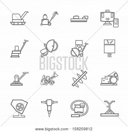 Equipment for working with concrete, construction machinery, contour icons monochrome. Vector, linear grayscale images of construction equipment and tools on white background.