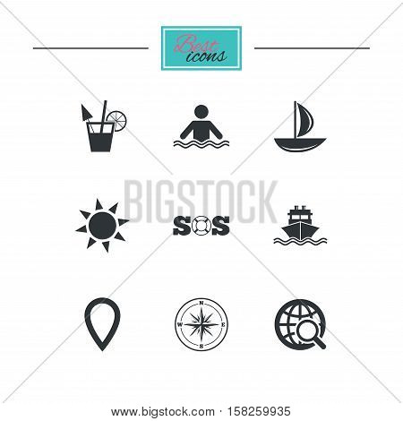 Cruise trip, ship and yacht icons. Travel, cocktail and sun signs. Sos, windrose compass and swimming symbols. Black flat icons. Classic design. Vector