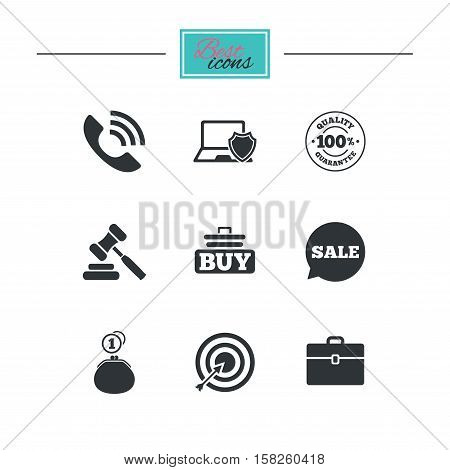 Online shopping, e-commerce and business icons. Auction, phone call and sale signs. Cash money, case and target symbols. Black flat icons. Classic design. Vector