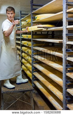 Worker At Maturing Cellar With Aging Conte Cheese In Creamery