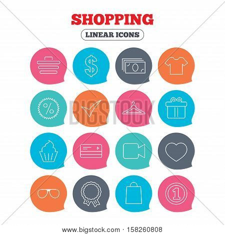 Shopping icons. Shopping cart, dollar currency and cash money. Shirt clothes, gift box and hanger. Credit or debit card. Flat speech bubbles with linear icons. Vector
