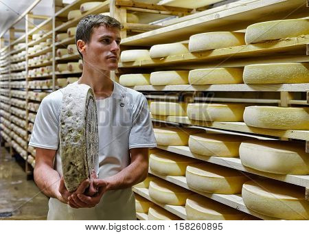 Worker Holds Gruyere De Comte Cheese At Diary