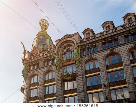 Singer -Zinger- House on Nevsky Prospect in the historic center of St Petersburg Russia. Also widely known as the House of Books. Detailed closeup view of St Petersburg landmark