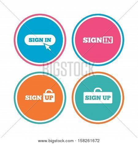 Sign in icons. Login with arrow, hand pointer symbols. Website or App navigation signs. Sign up locker. Colored circle buttons. Vector