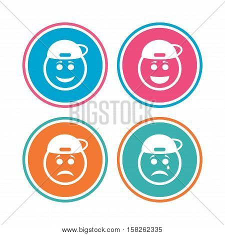 Rapper smile face icons. Happy, sad, cry signs. Happy smiley chat symbol. Sadness depression and crying signs. Colored circle buttons. Vector