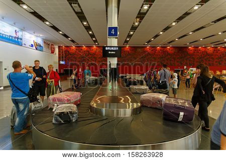 BURGAS BULGARIA - AUG 24: Baggage claim area in International Airport. Burgas International Airport is the one of two biggest airports in Bulgaria. August 24 2016