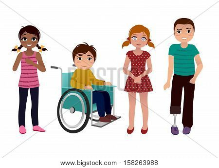 set of happy special needs children isolated on white background
