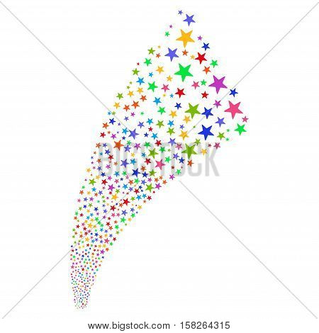 Pyrotechnic Star Fireworks Stream vector image. Style is bright multicolored flat stars, white background.