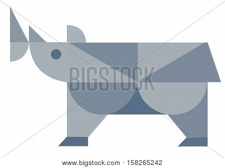 African rhino isolated. Abstract rhino. Isolated rhino. Rhino on white. Rhino side view. Rhino vector icon. Rhinoceros flat illustration. Rhino flat icon. African animal flat sign.