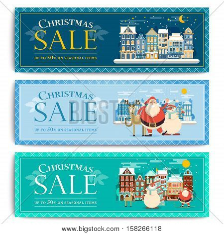 Christmas social media sale banners for mobile website ad. Xmas discount background for online shop store web page or cell phone. Promotional poster or flyer layout. Vector holiday promotion leaflet