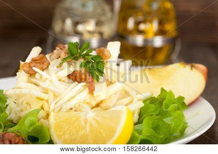 Waldorf salad. Salad with celery, walnuts and apples.
