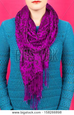 Silk Scarf. Lilac Silk Scarf Around Her Neck Isolated On Pink Background.