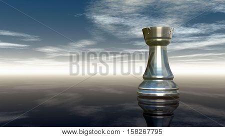 metal chess rook under cloudy sky - 3d rendering