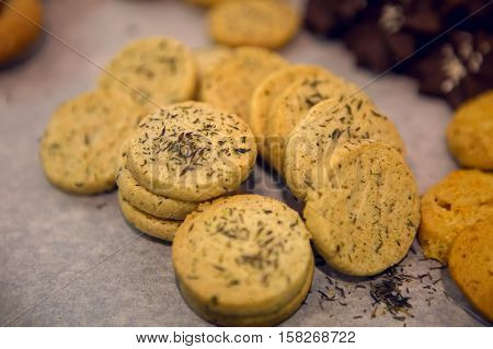 round little cookies with chocolate and oatmeal
