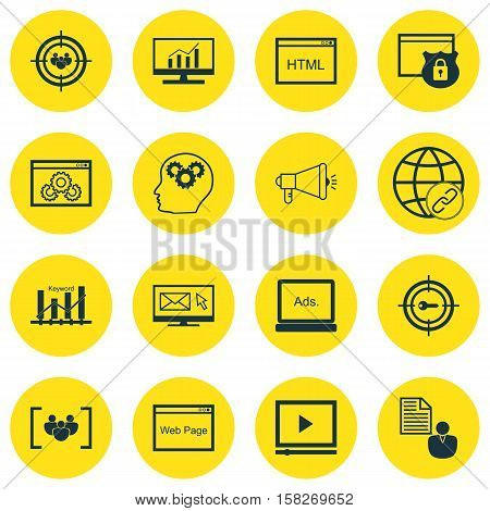 Set Of Advertising Icons On Brain Process, Questionnaire And Keyword Marketing Topics. Editable Vect