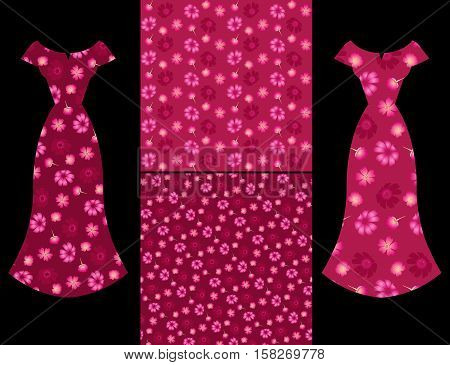 Beautiful card with collection of female dresses with verbena and cosmos flowers and two seamless floral pattern on Red Wine background. Fashion design.