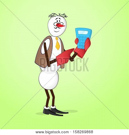 Snowman bookkeeper in jacket with calculator and glasses