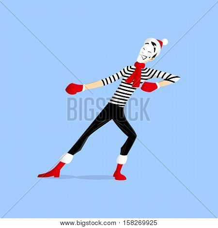 A Mime performing a pantomime called pulling something out hard