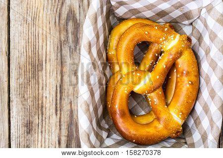 Breadbasket with traditional homemade Bavarian pretzels. Studio Photo