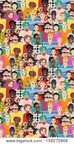 Vector seamless pattern with men and women of different ages, races and nationalities.