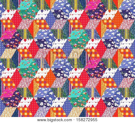 Bright multicolor patchwork pattern. Seamless vector illustration of quilt - 2.