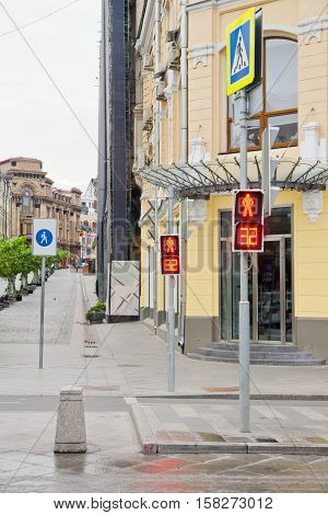 Pedestrian Zone And The Traffic Lights On City Street