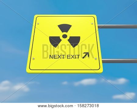 Next Exit Anti-nuclear Movement Concept: Radiation Symbol Road Sign 3d illustration