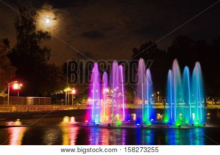 Fountain With Backlight In Park
