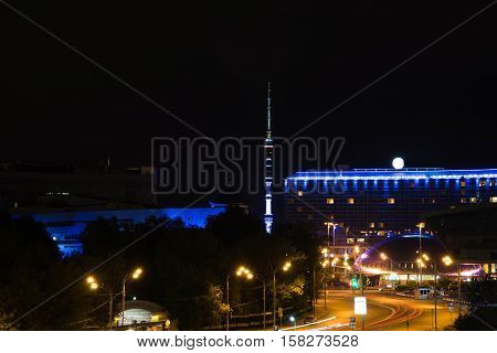 Buildings With Blue Illumination In The City